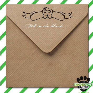 Dog Holiday stamp - DIY, fill in the blank sentiment - you choose dog breed & banner design - rubber stamp with wood handle
