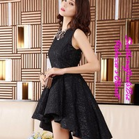 Black Lace Short Cocktail Dresses for Prom Cocktail Party Dress Sleeveless Woman Prom Dress Customize _PD1607S01