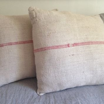 Vintage European Grain Sack Pillow with Z...
