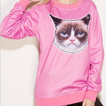 Pullover Cats Round-neck Print Strong Character Hoodies = 4817929348