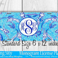 Aqua Teal Mermaids Monogram License Plate Metal Wall Sign Auto Car Truck Tags Personalized Custom Vanity Lilly Inspired