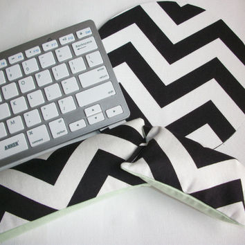 Mouse pad, keyboard rest, and mouse wrist rest set - Reversible black and white chevron with mint coworker desk cubical office accessories