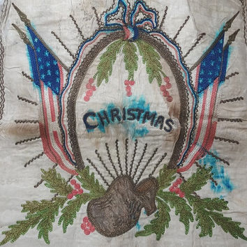 World War I Christmas Pillow Cover in Silk with Hand Embroidery, Tattered but Fabulous, Soldier Gift to Mom, Sweetheart, Flags, Upcycle