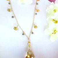 Citrine Swarovski golden shadow pyrite renaissance necklace