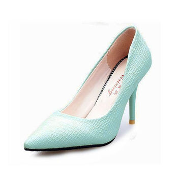 Hot Sale European OL Style Office Career Women Snake Skin Candy Color Pumps Sexy Pointed Toe High Heels Spring Autumn Shoes O127