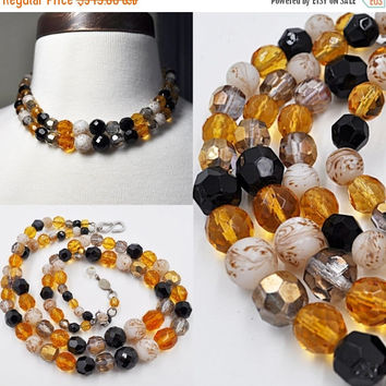 ON SALE Vintage Christian Dior 1959 Silver, Crystal & Art Glass Necklace, Germany, Amber, Black, AB, Swirl,  Autumn, Rare and Htf! #b316
