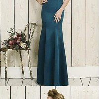 Unique Satin Dark BlueFull length Mermaid Prom Dresses With Beadings from lass