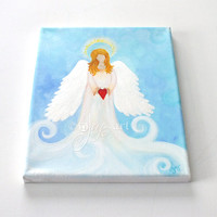 Angel Heart, original painting, 8x10 acrylic canvas, inspirational art
