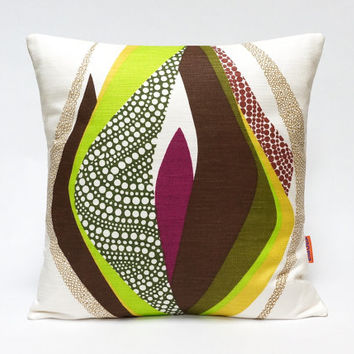 "Vintage fabric cushion cover, 70's, retro, throw pillow, 16"" x 16"" 40x40cm"