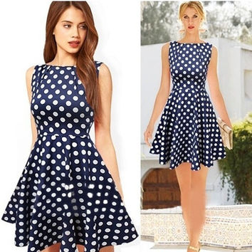 Dark Blue Clothing Spring Summer 2014 New Daily Odeedu Eenschin Sleeveless Polka Dot vintage Elegant Party Dresses = 5617085441