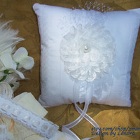 "Ring Bearer Pillow - ""Grace"" Romantic White Cotton Eyelet - Rustic Ring Bearer Pillow"
