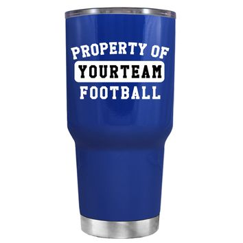 TREK Property of Football Personalized on Blue 30 oz Tumbler Cup