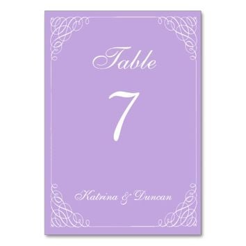 Elegant Swirl Lavender Personalized Table Card