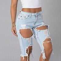 Pure Color Hole Rough Edge Denim Slim Knee-length Shorts