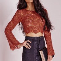 Missguided - Lace Bell Sleeve Crop Top Rust