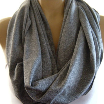 Granite Heathered Gray Infinity scarf  Heather gray Nomad Cowl circle loop scarf