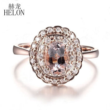 HELON Noble Real Natural Diamonds & 7x5mm Oval Morganite Fine Antique Ring Solid 14K Rose Gold Engagement Wedding Gemstone Ring