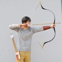 Black 40 lbs Handmade Traditional Recurve Bow Hunting Archery Wooden Longbow