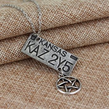 20 PCS/ lot Statement Necklace Supernatural Sam Dean Winchester Plate Necklace Alloy Chain Necklace Christmas Gift