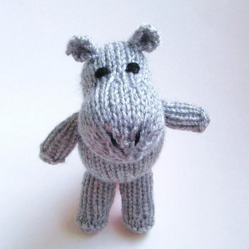 "Hand Knit Stuffed Hippo Plush - Amigurumi Small Knit Animal Kids Toy - Baby Jungle Nursery Girl Boy - Stuffed Animal Toy Hippo 6 3/4"" Tall"