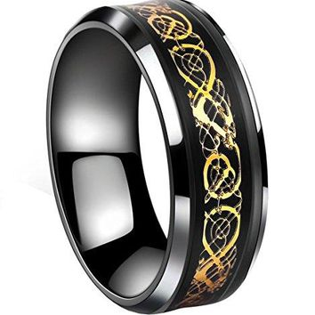 Tanyoyo Black Gold Celtic Dragon stainless steel Ring Wedding Band Jewelry Size 714