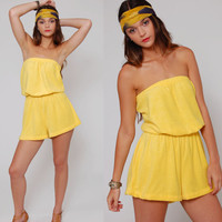 Vintage 90s Romper Yellow TERRY CLOTH Strapless Beach Cover Up Shorts Small