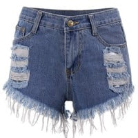 Ripped Mini Cut Off Denim Shorts