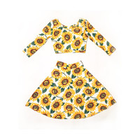 Sunflower 2-piece Skater Skirt and Crop Top