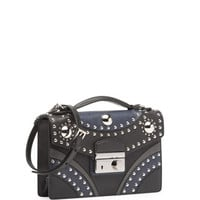 Prada Bicolor Studded Saffiano Sound Bag, Black/Blue (Nero+Baltico)