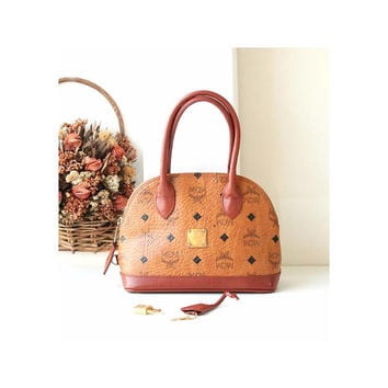 Authentic MCM Vintage Visetos Cognac Alma small Tote handbag