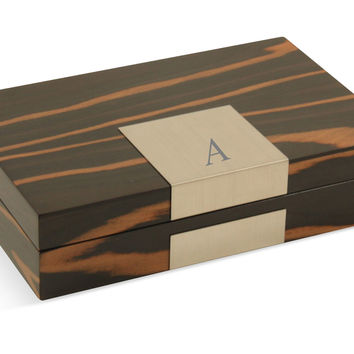 Monogram Lacquer Valet Box, Burl, Jewelry Boxes & Chests