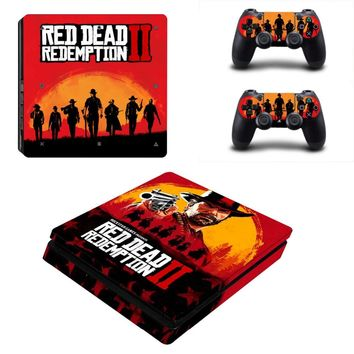 Red Dead Redemption 2 PS4 Slim Skin Sticker Decal for PlayStation 4 Console and 2 Controller Skin PS4 Slim Skin Sticker Vinyl
