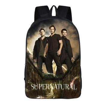 16 Inch Supernatural Backpack Demon Hunter Winchester Bros Sam Dean Travel Bag Children School Bags For Teenagers Backpacks