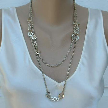Ultra Long Retro Chain Necklace Machine-Age Style Flapper Length Vintage Jewelry