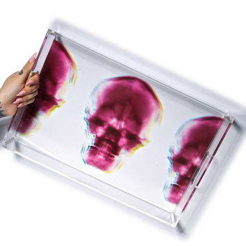 Imm Living Radiant Relics X-Ray Skull Trays Clear One