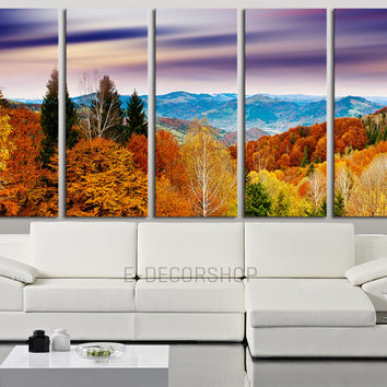 Canvas Art Colorful Autumn and Mountains View 5 Panel Wall Art Print  Ready to Hang 5 Panels Stretched on Deep 3cm Frame