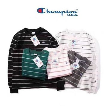 Champion Casual Stripe Long Sleeve Top Sweater Pullover