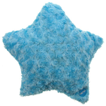 "Blue Star Pillow Multi Color LED Light Up Flash 13"" Microbeads Plush Throw Couch"