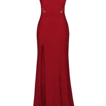 Red Lace Party Maxi Evening Dress LAVELIQ