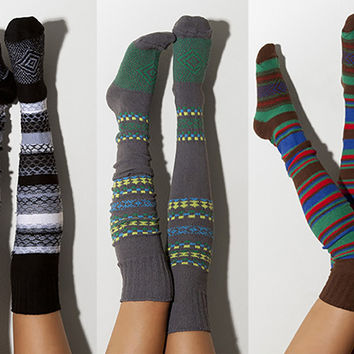 3pk Striped Scandinavian Pattern Thigh High Socks, Multi Pack