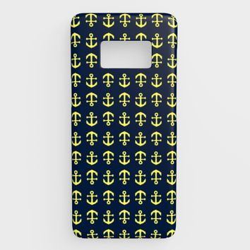 Anchor Toss Cell Phone Case Galaxy S8 - Yellow on Navy