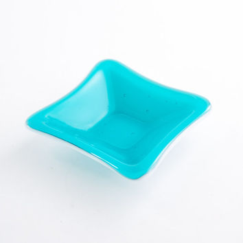Aquamarine Ring Dish, Jewelry Holder, Catch All, Trinket Tray, Fused Glass, Bedroom Decor, Bath Accessories, Unique Gifts for Women
