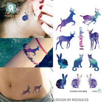 3d Tattoo Elk Bunny, Cats Pattern Temporary Tattoo Flash Foil