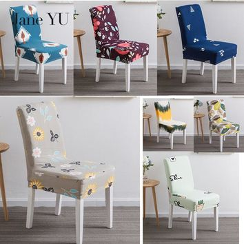 JaneYU 23 colors Printed Spandex Stretch Dining Chair Cover Machine Washable Banquet Muliti Style Floral Pattern Slipcover