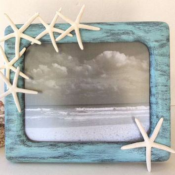 Starfish picture frame 8x10 Handmade Beach Decor photo frame Coastal Nautical Rustic seashell frame tabletop wall hanging frame easel foot