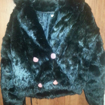 Vintage 1970s Retro Black Rabbit Fur Jacket - Size Large -