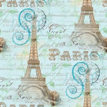 Vintage Paris French Words Aqua - 13moons_design - Spoonflower