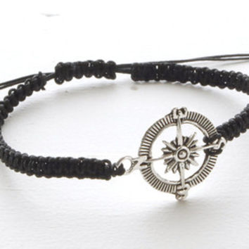 Black Knotted Compass Bracelet Charm Bracelet Men's Bracelet Mens Jewelry Nautical Bracelet