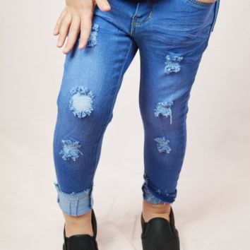 lil' belle distressed jeans - blueberry
