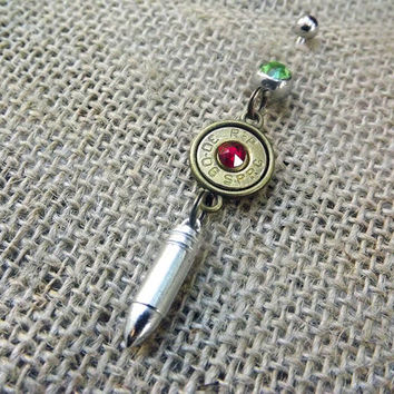 Bullet belly button ring with silver tone ammo charm/ Bullet jewelry navel ring / ammo belly ring/  Country Southern Redneck Accessories/
